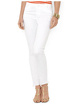 Lauren Ralph Lauren Slim Stretch-Cotton Ankle-Zip Pant