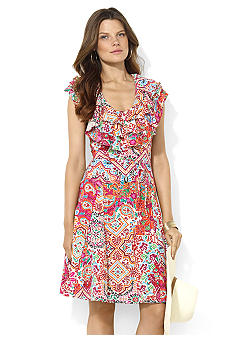 Lauren Ralph Lauren Ruffled Paisley Cotton Dress