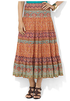 Lauren Ralph Lauren Paisley Tiered Cotton Skirt
