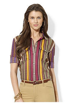 Lauren Ralph Lauren Roll-Sleeve Striped Workshirt