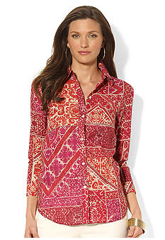Lauren Ralph Lauren Three-Quarter-Sleeved Printed Cotton Voile Shirt