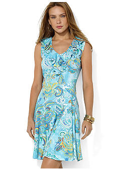 Lauren Ralph Lauren Ruffled-Neck Pleated Paisley Dress