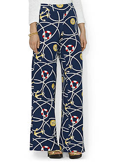 Lauren Ralph Lauren Anchor Stretch Wide-Leg Pant