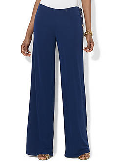 Lauren Ralph Lauren Wide-Leg Lace-Up Jersey Pant