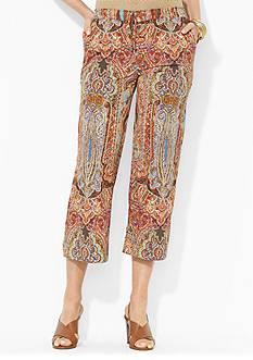 Lauren Ralph Lauren Paisley Cropped Wide-Leg Pant<br>