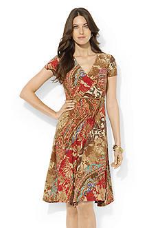 Lauren Ralph Lauren Paisley Surplice Dress