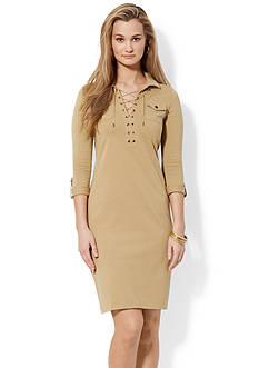 Lauren Ralph Lauren Lace-Up Cotton Dress<br>