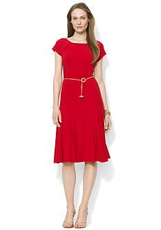 Lauren Ralph Lauren Belted Jersey Boat Neckline Dress