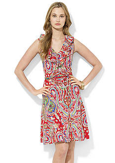 Lauren Ralph Lauren Ruffled-Neck Paisley Dress