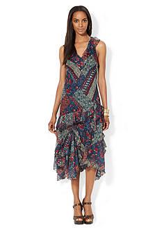 Lauren Ralph Lauren Patchwork Ruffled V-Neck Dress<br>