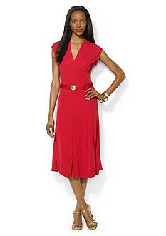 Lauren Ralph Lauren V-Neck Belted Jersey Dress<br>