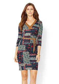 Lauren Ralph Lauren Cotton V-Neck Dress<br>
