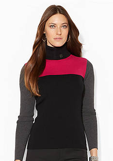 Lauren Ralph Lauren Colorblocked Turtleneck Sweater