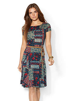 Lauren Ralph Lauren Patchwork Flared Dress