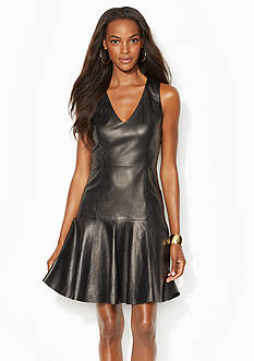 Lauren Ralph Lauren Leather V-Neck Dress