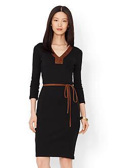 Lauren Ralph Lauren Belted Cotton Dress