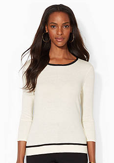 Lauren Ralph Lauren Cotton-Blend Ballet-Neckline Top
