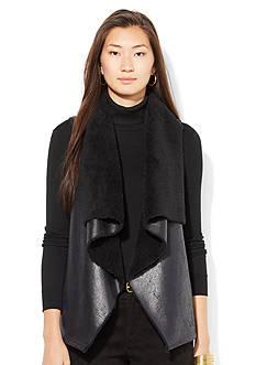 Lauren Ralph Lauren Faux-Leather & Shearling Vest