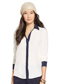 Lauren Ralph Lauren Color-Blocked Silk Shirt