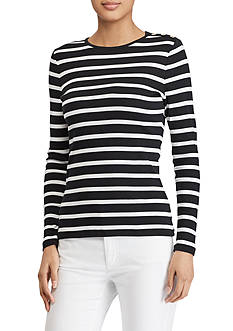 Lauren Jeans Co. Buttoned-Shoulder Striped Top