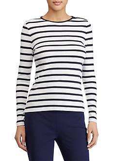 Lauren Ralph Lauren Buttoned-Shoulder Striped Top