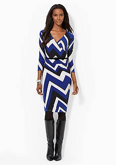 Lauren Ralph Lauren Printed Faux-Wrap Dress<br>