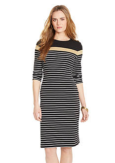 Lauren Ralph Lauren Striped Cotton Crewneck Dress