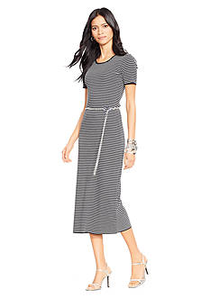 Lauren Ralph Lauren Striped Belted Crew Neckline Dress