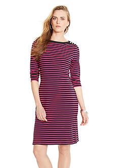 Lauren Ralph Lauren Cropped-Sleeved Striped Dress