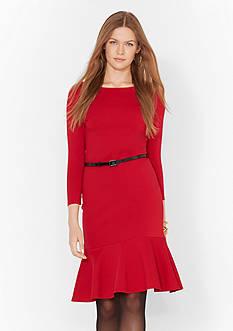 Lauren Ralph Lauren Belted Peplum Dress
