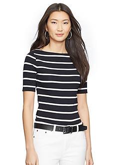 Lauren Ralph Lauren Striped Stretch-Cotton Shirt