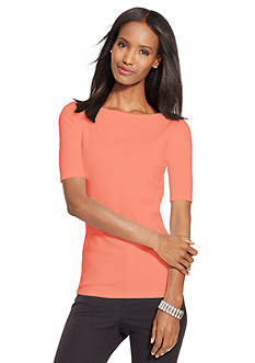 Lauren Ralph Lauren Stretch Cotton Boat Neckline Tee
