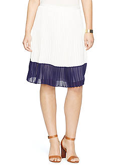 Lauren Ralph Lauren Colorblocked Pleated Skirt