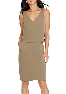 Lauren Ralph Lauren Layered Jersey V-Back Dress