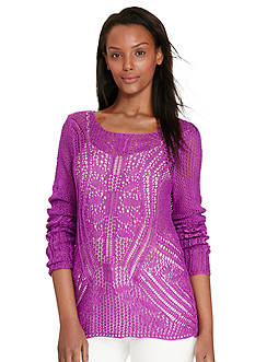 Lauren Ralph Lauren Pointelle-Knit Cotton Sweater