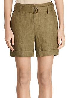 Lauren Ralph Lauren Belted Linen Shorts