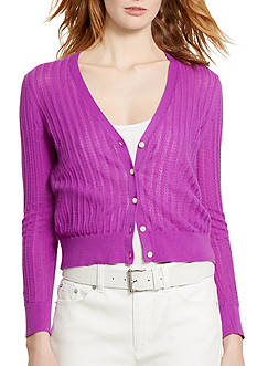 Lauren Ralph Lauren Pointelle-Knit Cotton Cardigan
