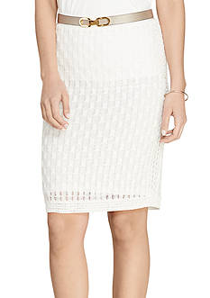 Lauren Ralph Lauren Honeycomb Cotton Pencil Skirt