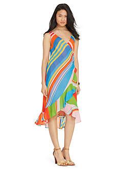 Lauren Ralph Lauren Striped Georgette Wrap Dress
