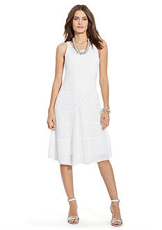 Lauren Ralph Lauren Pointelle Linen-Cotton Dress