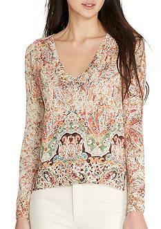 Lauren Ralph Lauren Paisley-Print V-Neck Sweater