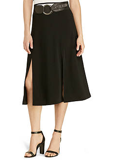 Lauren Ralph Lauren Sueded Crepe Midi Skirt