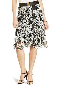 Lauren Ralph Lauren Scroll-Print Ruffled Skirt