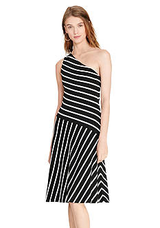 Lauren Ralph Lauren Striped One-Shoulder Dress