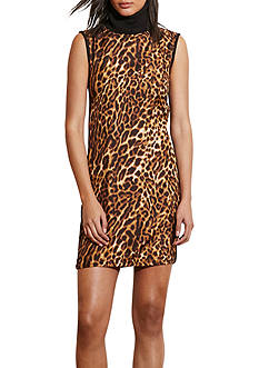 Lauren by Ralph Lauren Ocelot-Front Turtleneck Dress