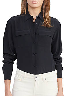 Tops: Womens Black Collared & Button Down | Belk