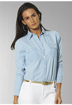 Lauren Ralph Lauren Petite Chambray Pocket Shirt