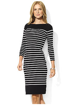 Lauren Ralph Lauren Petite Striped Cotton Boatneck Dress