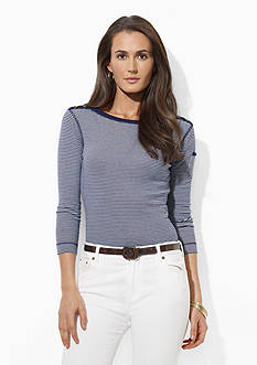 Lauren Ralph Lauren Petite Three-Quarter Sleeve Boatneck