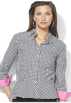 Lauren Ralph Lauren Petite Ruffle-Bottom Gingham Blouse